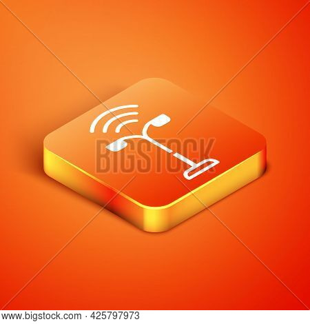 Isometric Smart Street Light System Icon Isolated On Orange Background. Internet Of Things Concept W