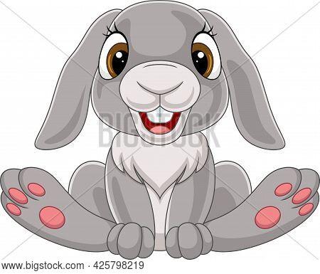 Vector Illustration Of Cute Little Rabbit Cartoon Sitting