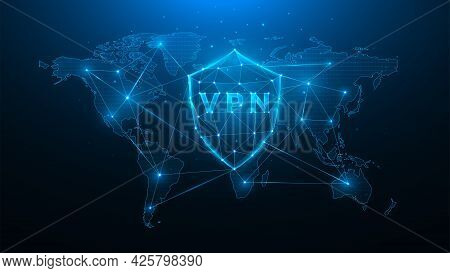 Polygonal Vector Illustration Of The Virtual Private Network, Shield With Vpn And World Map, Concept