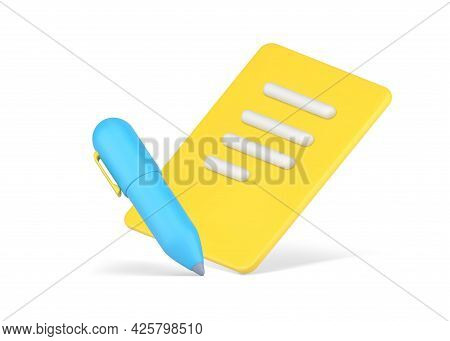Signing Business Contract. Yellow Volumetric Paper With Rows Abstract Text