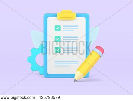 Checklist On Volumetric Clipboard Paper. Text Document With Completed Tasks Marked With Checkmarks