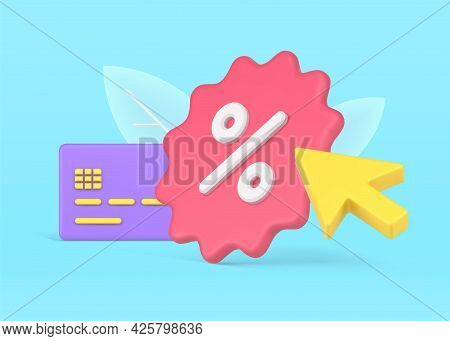 Credit Card Discount Program. Purple Plastic Card With Pink Jagged Percentage Label