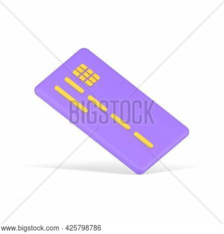 Volumetric Credit Card. Purple Plate With Yellow Number Stripes And Electronic Chip