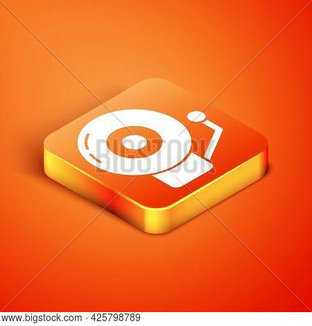 Isometric Ringing Alarm Bell Icon Isolated On Orange Background. Alarm Symbol, Service Bell, Handbel