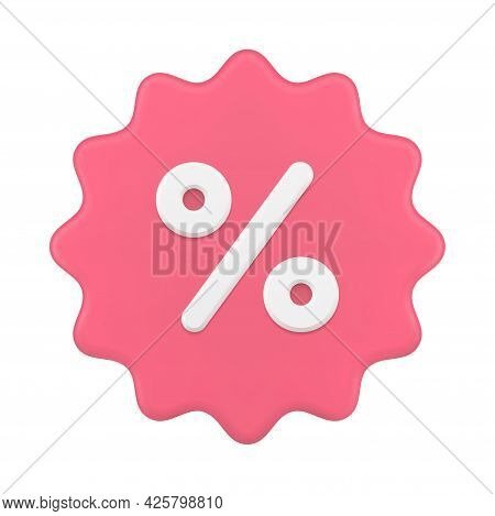Jagged 3d Price Tag With Percentages. Pink Sticker Clearance Sale With Discounts