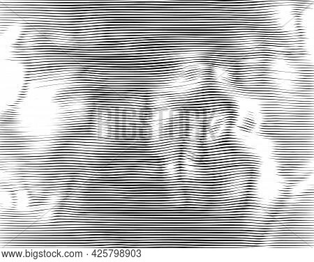 Abstract Linear Background With Smoothly Wavy Zigzag Stripes. Modern Fluid Texture With Optical Illu