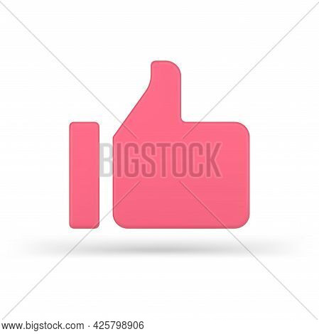 Volumetric Pink Like Vector 3d Icon. Online Approval Symbol In Minimal Design.