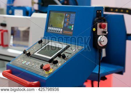 Cnc Machine Operator Control Panel And Cnc Pendant. Selective Focus.