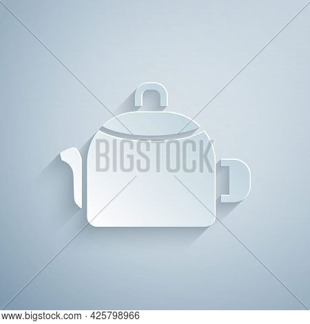 Paper Cut Kettle With Handle Icon Isolated On Grey Background. Teapot Icon. Paper Art Style. Vector
