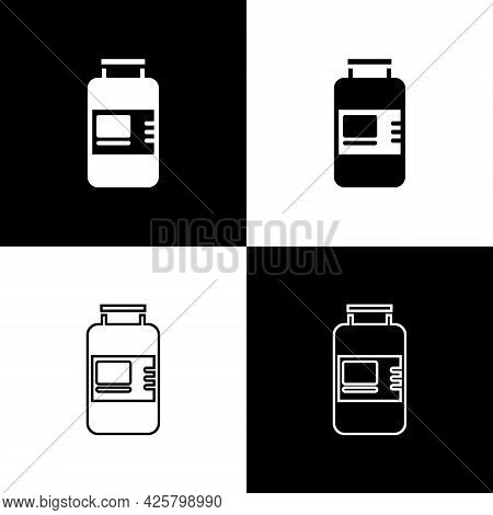 Set Collagen Serum And Vitamin Icon Isolated On Black And White Background. Facial Treatment Essence
