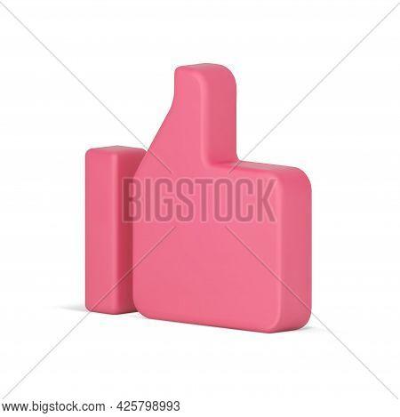 Pink Realistic 3d Like. Volumetric Symbol In Simple Design