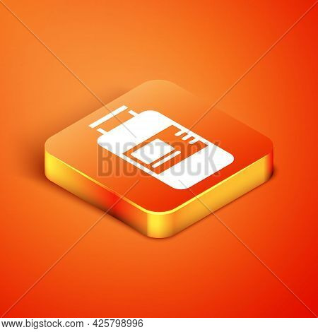 Isometric Collagen Serum And Vitamin Icon Isolated On Orange Background. Facial Treatment Essence Sk