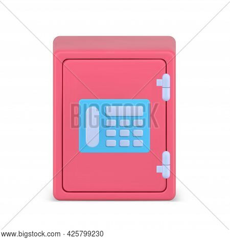 Volumetric Pink Bank Safe Vector 3d Icon. Armored Storage With Combination Lock And Electronic Panel