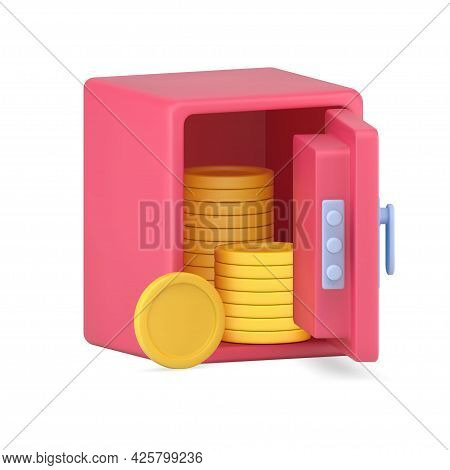 Open Volumetric Safe With Gold Coins. Pink Armored Vault With Columns Of Circles Made Precious Metal