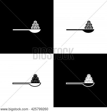 Set Caviar On A Spoon Icon Isolated On Black And White Background. Vector.