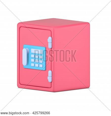 Reliable Pink Safe 3d. Metallic Container With Combination Lock And Electronic Panel