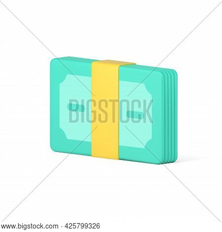 Bundle Volumetric Banknotes Sealed With Tape. Paper Cash Tied With Yellow Strip
