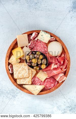 Charcuterie And Cheese Platter, Top Shot. Prosciutto Di Parma Ham, Blue Cheese, Salami And Olives, A