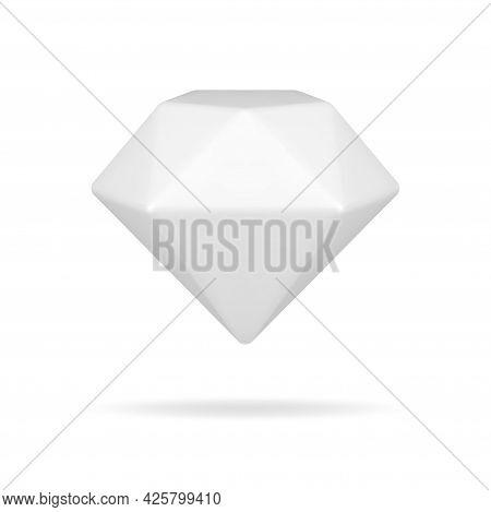 White 3d Diamond. Gradient Brilliant With Geometric Facets
