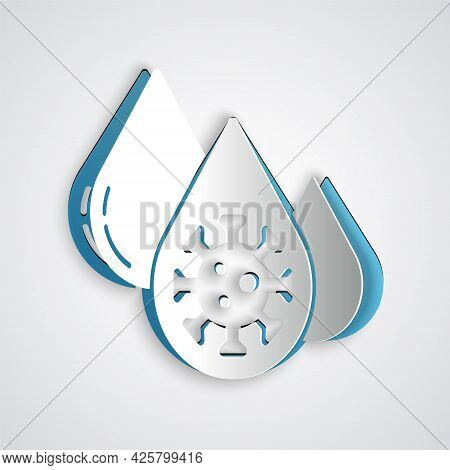 Paper Cut Blood Test And Virus Molecule Coronavirus Icon Isolated On Grey Background. Coronavirus, C