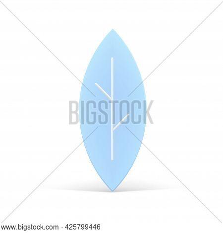 Blue 3d Leaf. Volumetric Design With White Veins