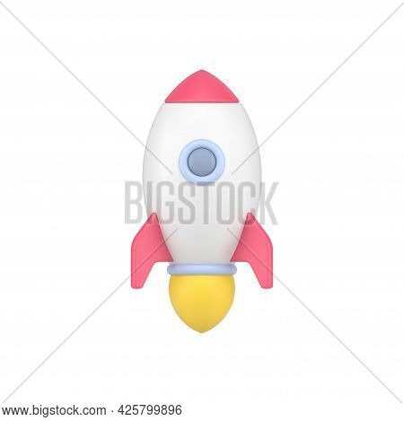 Flying 3d Rocket. White Space Shuttle With Circular Illuminator Rushes Into Sky