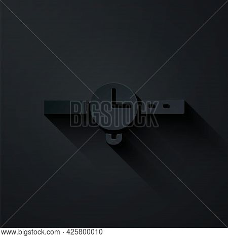 Paper Cut Wrist Watch Icon Isolated On Black Background. Wristwatch Icon. Paper Art Style. Vector