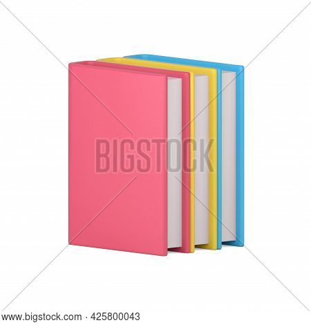 Stack Of 3d Color Books. Educational Literature With Pink Cover