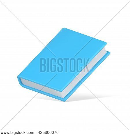 Blue 3d Book Vector Icon. Hardcover Educational Literature