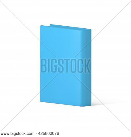 Volumetric Blue Book Vector Isolated 3d Icon. Interesting Educational Literature.