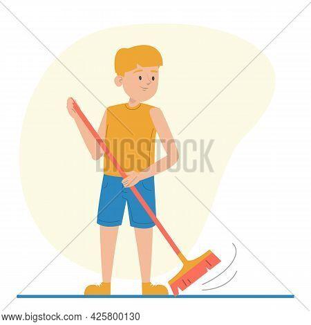 Boy Sweeping The Floor Using Broom Isolated