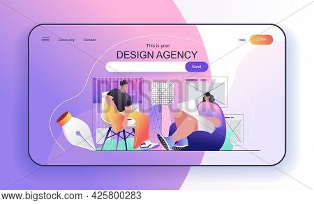 This Is Your Design Agency Concept For Landing Page. Designers Create Page Layouts With Content, Dra