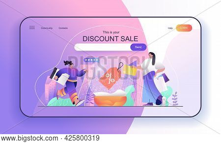 This Is Your Discount Sale Concept For Landing Page. Woman Makes Purchases At Discounted Prices, Buy