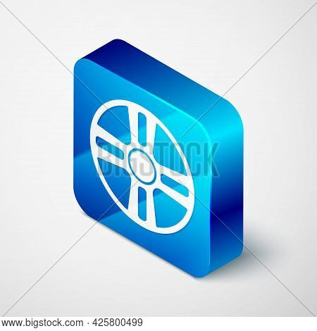 Isometric Alloy Wheel For A Car Icon Isolated On Grey Background. Blue Square Button. Vector