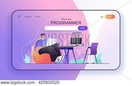 This Is Your Programmer Concept For Landing Page. Developer Works At Laptop, Writes Code On Computer