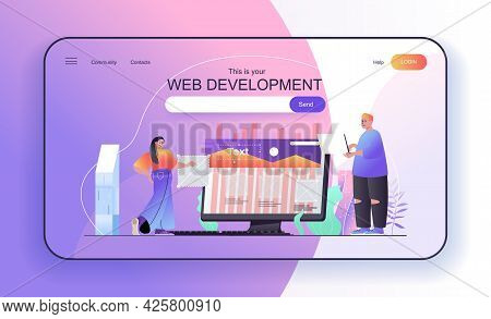 This Is Your Web Development Concept For Landing Page. Designers Create Page Layout, Programming, Op