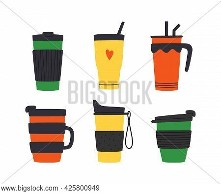 Set Of Tumblers With Cap, Handle And Straw. Reusable Cups And Thermo Mug. Different Designs Of Therm