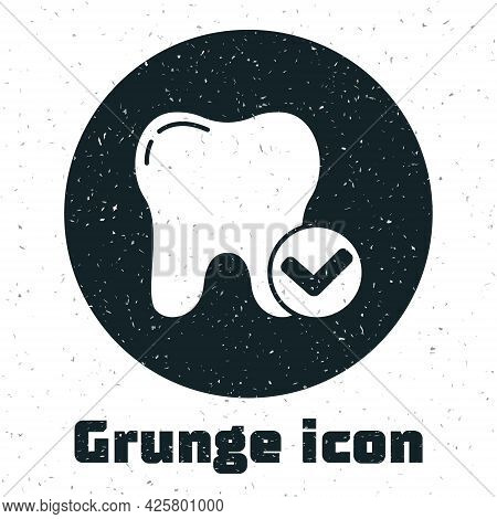 Grunge Tooth Whitening Concept Icon Isolated On White Background. Tooth Symbol For Dentistry Clinic