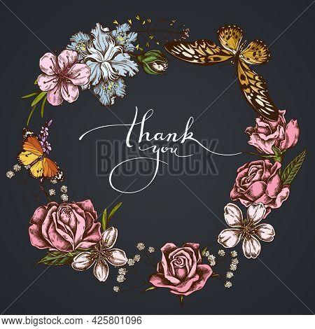 Dark Floral Wreath Of Shepherd S Purse, Heather, Iris Japonica, Sakura, Gypsophila, Almond, African