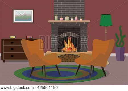 Two Red Armchairs Near A Brick Fireplace Stand On An Oval Rug In The Living Room With A Chest Of Dra