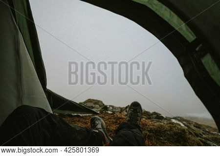 Camping at a misty Glen Coe in Scotland