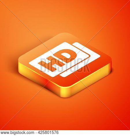 Isometric Hd Movie, Tape, Frame Icon Isolated On Orange Background. Vector