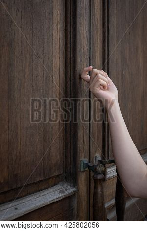 Hand Knocking On The Door, Outdoor, Visit