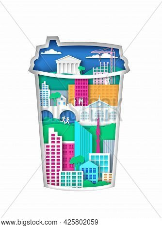 Takeaway Coffee Cup Silhouette With Modern City Elements, Vector Illustration In Paper Art Style. Co