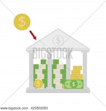 Bank Building With Money, Deposit Deposit, Color Vector Illustration In Cartoon Style, Icon.