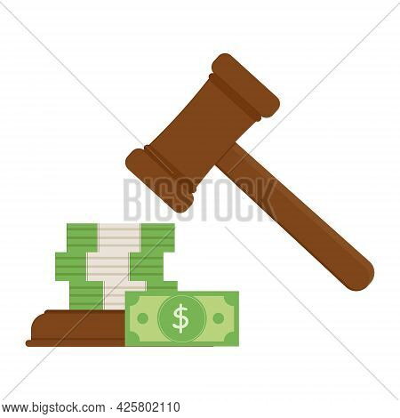 Auction Hammer And Cash Bid, Color Vector Isolated Illustration.