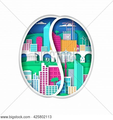 Coffee Bean Silhouette With Modern Eco Friendly City Elements, Vector Illustration In Paper Art Styl