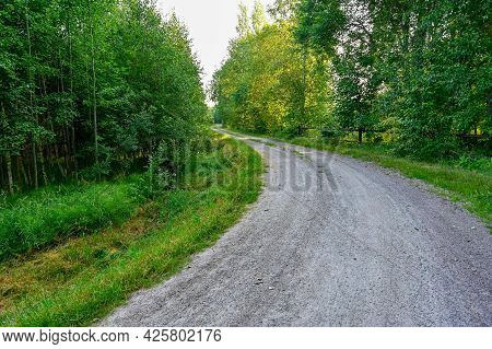 Bend On A Gravel Road In Forest