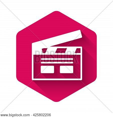 White Bollywood Indian Cinema Icon Isolated With Long Shadow. Movie Clapper. Film Clapper Board. Cin