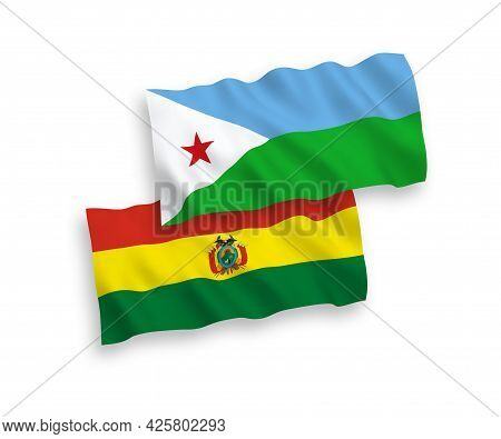 National Fabric Wave Flags Of Republic Of Djibouti And Bolivia Isolated On White Background. 1 To 2